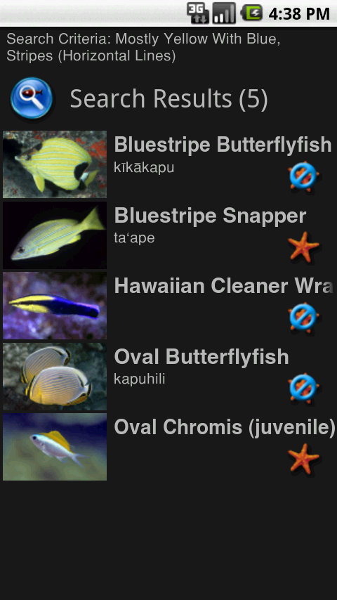 List View of matched fish